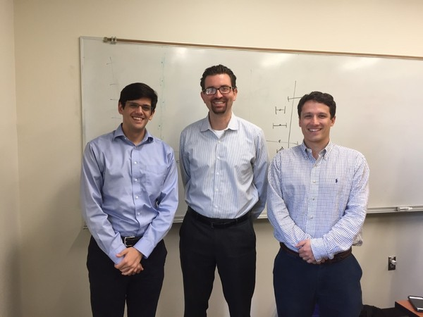 Emory Medical Students Alex Hedaya (left) and Christopher Rich (right), with Cardiologist Dr. Dimitri Cassimatis (middle).