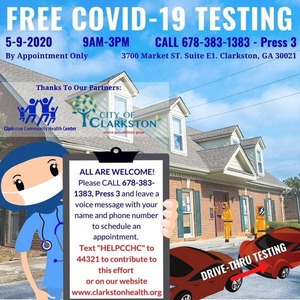 In partnership with the City of Clarkston, the Clarkston Community Health Center is organizing its first free drive-thru COVID-19 testing