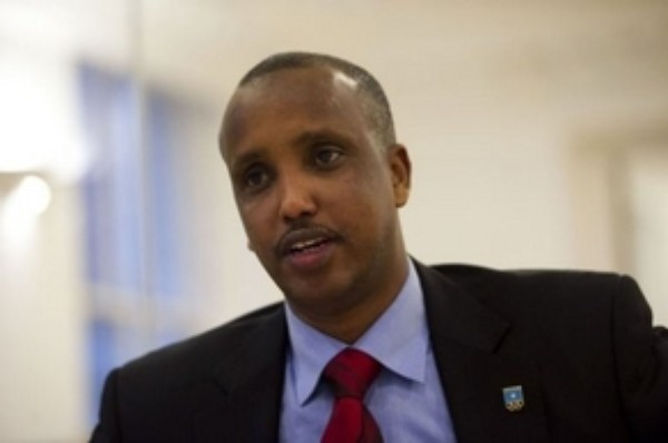 Duran Ahmed Farah, the president of the National Olympic Committee of Somalia, is interviewed in London on November 30, 2012. Farah told AFP he is aware of the danger he is in after his predecessor in the job was killed by a suicide bomber, but he is prepared to risk all as he carries on his work trying to rebuild his country's sporting infrastructure.