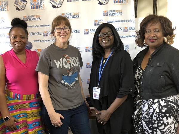 """(L-R) Former City Councilwoman Beverly Burks served as Guest Host in welcoming """"Clarkston Speaks, Tell Me A Story! Festival"""" guests Ellen Gadberry, Festival Coordinator, Effie Chisholm, DeKalb-Clarkston Library Branch Manager and Festival Coordinator and LaVerne Amponsah, with Kuumba Storytellers of Georgia andFestival Coordinator. Listen in as guests and host discuss attractions, books, activities and food that will be available at the 2018 Tell Me A Story! Festival."""